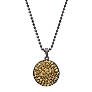 Crystaluxe Disc Pendant with Swarovski Crystals - Yellow