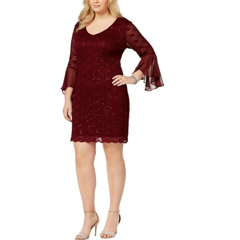 Connected Apparel Womens Plus Mini Dress Sequined Lace
