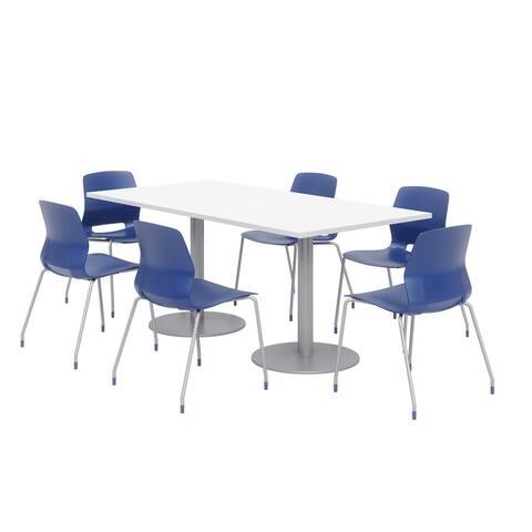 Olio Designs 6' x 3' Dining Table Set, 6 Lola Chairs, Designer White