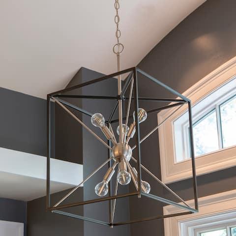 Sadler 6-light Mid-Century Modern Adjustable Sputnik Chandelier - Silver and Black