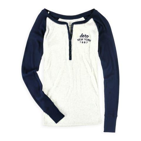 Aeropostale Womens Ribbed Logo Henley Shirt, blue, X-Small