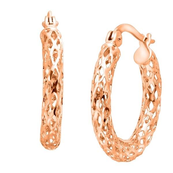 Just Gold Glitter Mesh Hoop Earrings in 14K Rose Gold - Pink