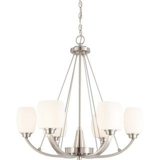 Nuvo Lighting 60/4186 Helium Six Light Chandelier with Satin White Glass
