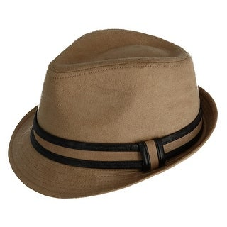 CTM® Men's Suede Fedora Hat with Leather Trim