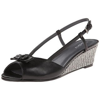 Trotters Womens Milly Bow Peep Toe Wedges