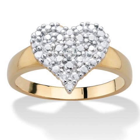Yellow Gold Plated Genuine Diamond Accent Heart Shaped Ring