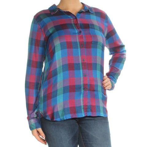 LUCKY BRAND Womens Blue Plaid Cuffed Collared Top Size: L