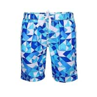 Sun Emporium Baby Boys Blue White Geometric Print Surfer Board Shorts