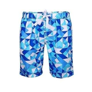 Sun Emporium Boys Blue White Geometric Print Surfer Board Shorts