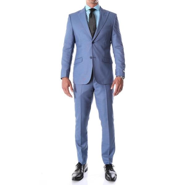 Ferrecci Mens Detroit Slim Fit Blue Birdseye Peak Lapel 2pc Suit
