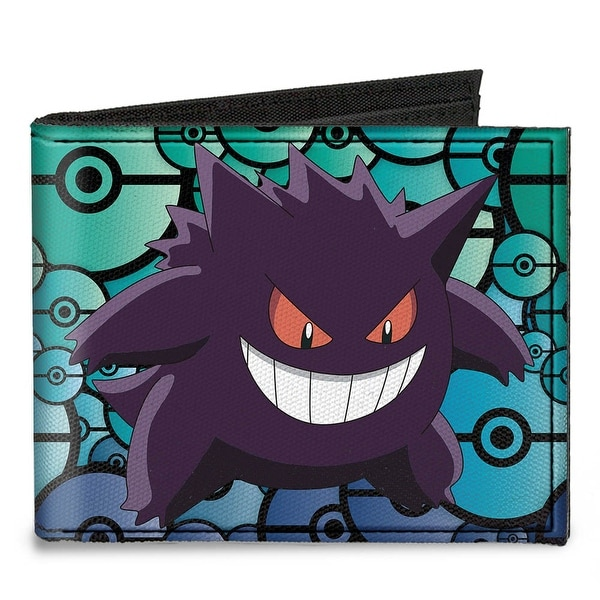 Gengar Pose + Logo Stacked Pok� Balls Black Blues Canvas Bi Fold Wallet One Size - One Size Fits most
