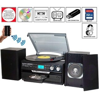 7-in-1 Boytone BT-24DJB Turntable with Bluetooth Connection, 3 Speed 33, 45, 78 Rpm, CD, Cassette Player AM, FM USB, SD Slot
