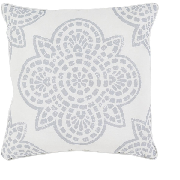 """16"""" Gray and White Printed Designed Outdoor Patio Decorative Square Throw Pillow"""