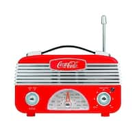 Coca-Cola Retro Desktop Vintage Style AM/FM Battery Operated Radio (Red/Silver) - RED