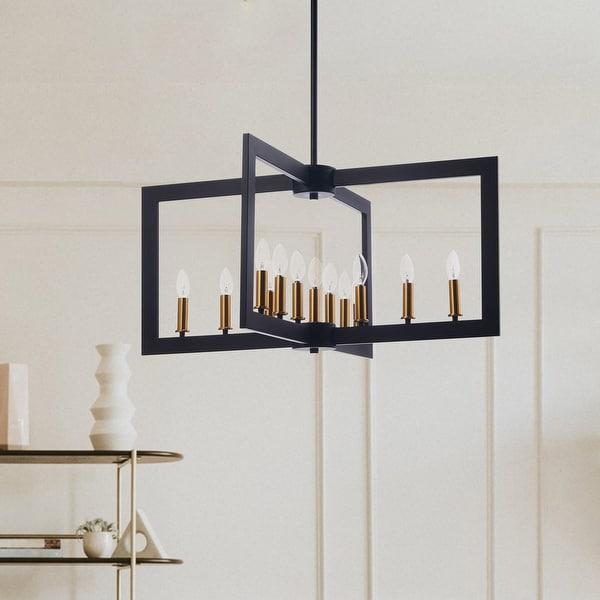 CO-Z 13-Light Candle Style Geometric Chandelier, Metal Open Frame - Black. Opens flyout.