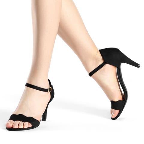 Women Stiletto Heel Scalloped Ankle Strap Sandals