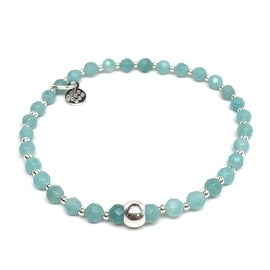 Aqua Amazonite 'Kara' Stretch Bracelet, Sterling Silver