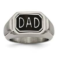 Chisel Stainless Steel Polished w/ Enamel and CZ Reversible Dad Ring