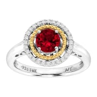 1 1/6 ct Created Ruby Ring with Diamonds in Sterling Silver & 14K Gold - Red