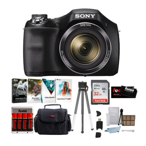 Sony DSCH300/B 20.1MP Digital Camera (Black) w/ Case & 32GB Bundle
