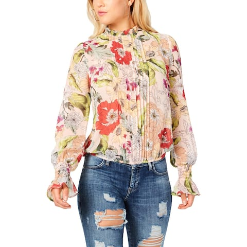 Guess Womens Tyler Pullover Top Sheer Floral