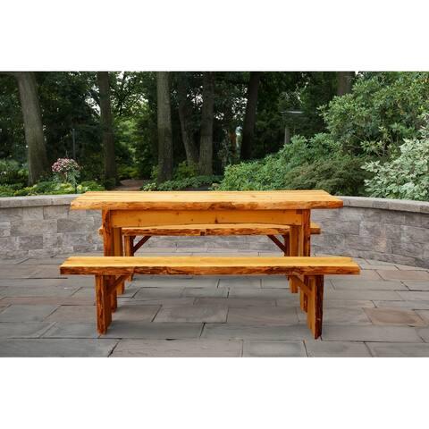 Live Edge Locust Wood 6' Autumnwood Table with 6' Wildwood Benches
