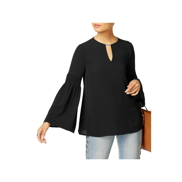 MICHAEL Michael Kors Womens Casual Top Crinkled Keyhole