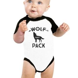 Wolf Pack Baby Baseball Bodysuit Black Raglan Gift For New Parents