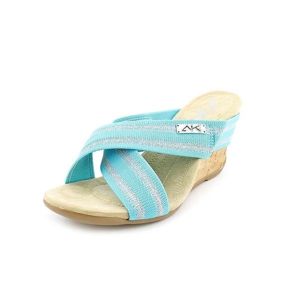 Anne Klein Womens LORRI Canvas Open Toe Casual Slide Sandals
