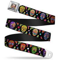 Sugar Skull Starburst Full Color Black Multi Color Seatbelt Belt Seatbelt Belt