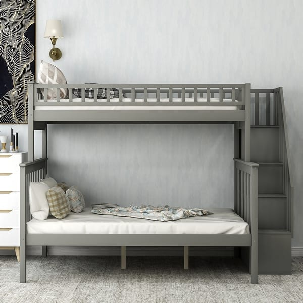 Merax Twin Over Full Bunk Bed Stairway With Shelves On Sale Overstock 30999112