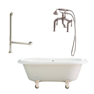 """Giagni LP3 Portsmouth 60"""" Free Standing Soaking Tub Package - Includes Tub, Tub Feet, Deck Mounted Tub Filler Faucet, and Drain"""