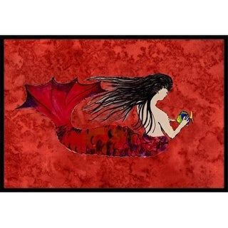 Carolines Treasures 8726MAT Black Haired Mermaid On Red Indoor & Outdoor Mat 18 x 27 in.