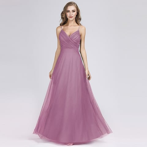 Ever-Pretty Womens V-Neck Tulle Long Prom Party Bridesmaid Dress 73692