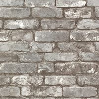 Brewster 2604-21259 Brickwork Pewter Exposed Brick Texture Wallpaper - N/A