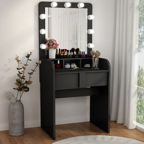 Vanity Table Set with Lighted Mirror 2 Drawers