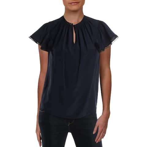 Rebecca Taylor Womens Blouse Silk Lace Trim - Navy - 0