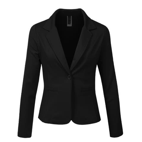 NE PEOPLE Womens Long Sleeve One Button Tailored Blazer Office Jacket