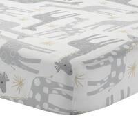 Lambs & Ivy Signature Moonbeams White/Gray Giraffe & Stars 100% Cotton Baby Fitted Crib Sheet