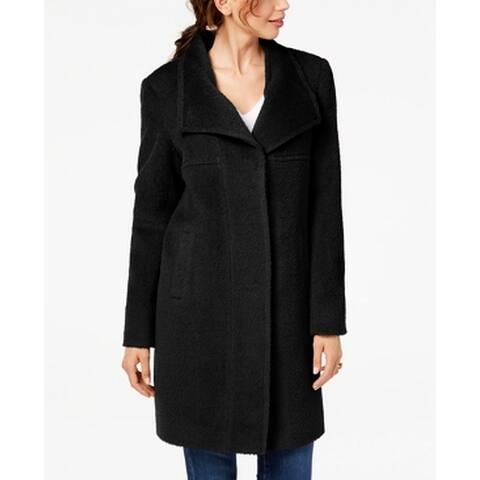 Jones York Deep Black Womens Size Small S Wing-Collar Coat