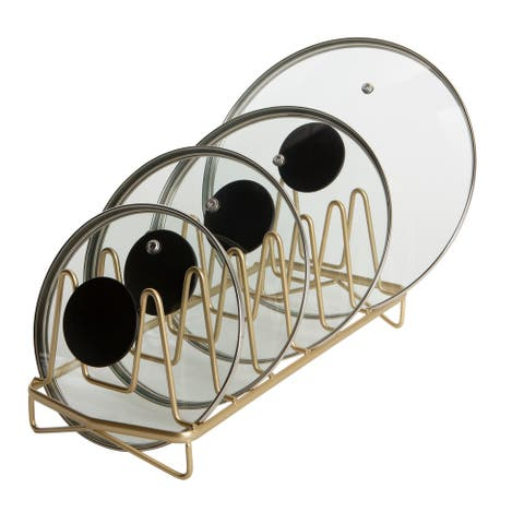 Kitchen Details Geode Lid Organizer in Satin Gold
