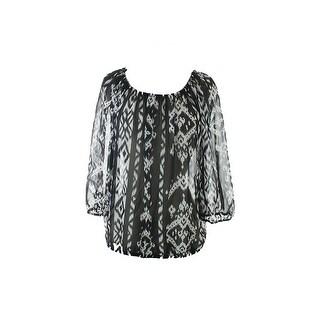 Inc International Concepts Black 3/4-Sleeve Ikat-Print Peasant Top 4