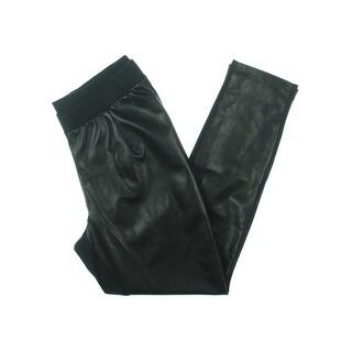 Junarose Womens Plus JRGITHA Leggings Faux Leather Mixed Media