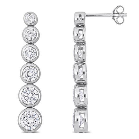 Miadora Cubic Zirconia Graduated Drop Earrings in Sterling Silver