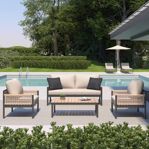 OVE Decors Delray 4-Piece Patio Set in Light Brown and Black