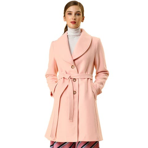 Women's Casual Cute Turn Down Collar Slim Single Breasted Belted Coat