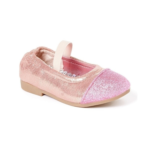 Shop Little Girls Pink Glitter Texture Elastic Band Slip On Flats 5-10  Toddler - Free Shipping On Orders Over  45 - Overstock - 23090109 c492ab32f409