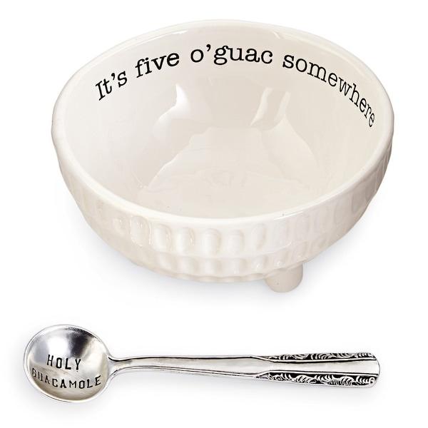 Mud Pie 4851076 Guacamole Serving Dish Set, White - 4 in. x 4 in. x 4 in.