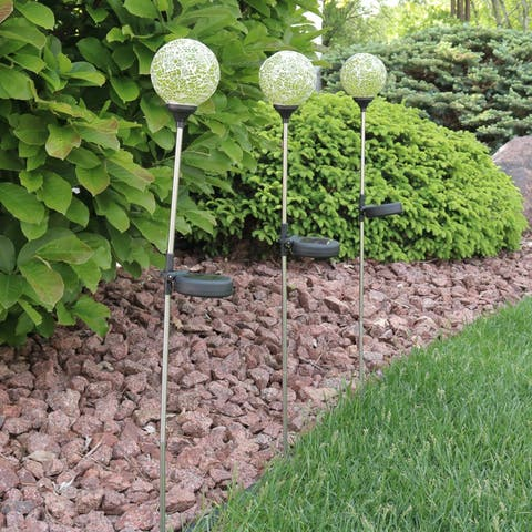 Sunnydaze Set of 3 Green Mosaic Crackle Glass Ball Solar LED Garden Stake Light