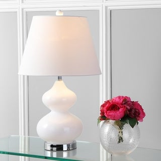 """Link to Safavieh Lighting 24-inch Eva Double Gourd Glass White Table Lamp (Set of 2) - 14""""x14""""x24"""" Similar Items in Lamp Sets"""